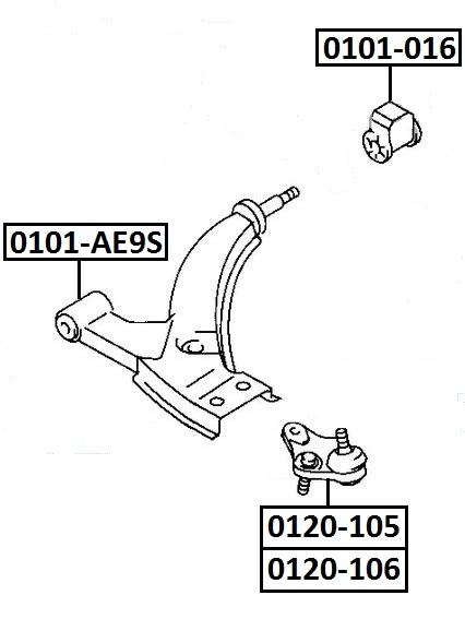 Сайлентблок AKITAKA 0101-016 (переднего рычага задний) TOYOTA