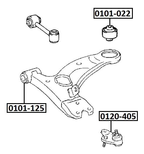Сайлентблок AKITAKA 0101-022 (переднего рычаго задний) TOYOTA