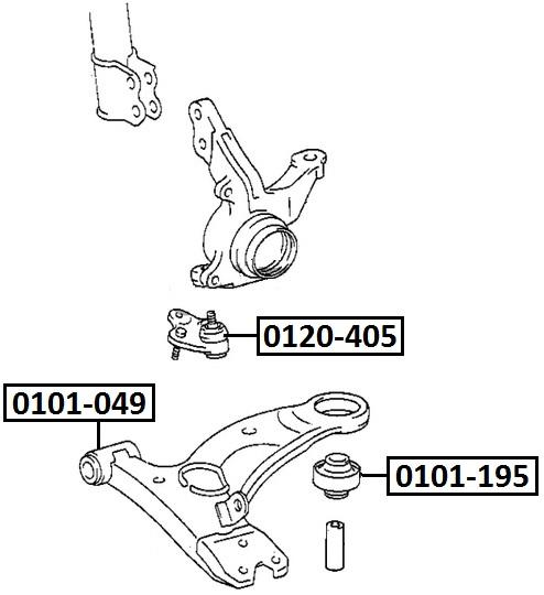 Сайлентблок AKITAKA 0101-049 (переднего нижнего рычага передний) TOYOTA