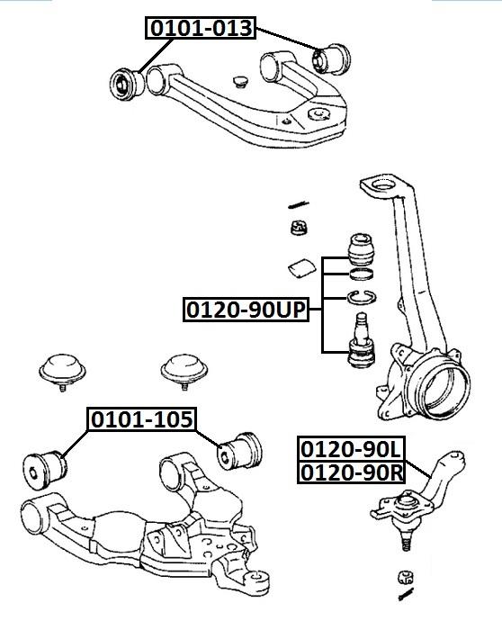 Сайлентблок AKITAKA 0101-105 (переднего нижнего рычага) TOYOTA