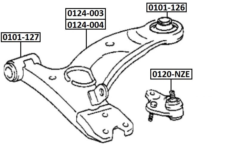 Сайлентблок AKITAKA 0101-126 (переднего рычага задний)