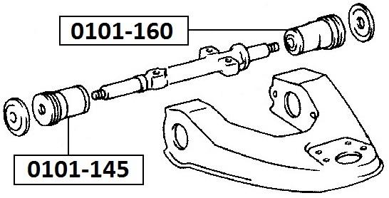 Сайлентблок AKITAKA 0101-160 (переднего верхнего рычага задний) TOYOTA