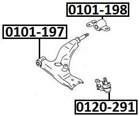 Сайлентблок AKITAKA 0101-197 (переднего рычага задний) TOYOTA