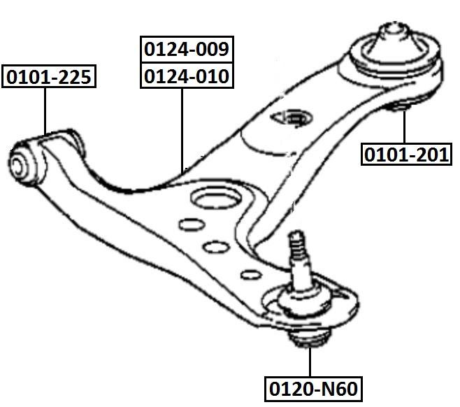Сайлентблок AKITAKA 0101-225 (переднего рычага передний) TOYOTA