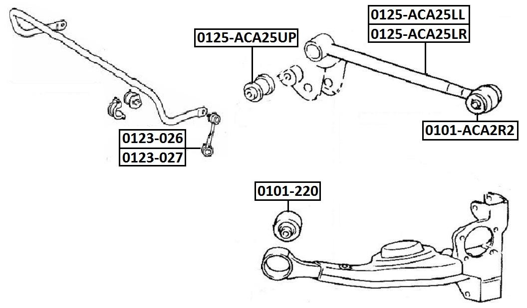 Сайлентблок AKITAKA 0101-ACA2R2 (задней нижней поперечной тяги) TOYOTA