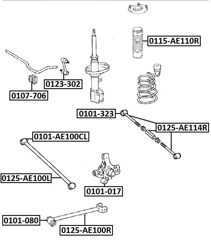 Сайлентблок AKITAKA 0101-AE100CL (задней тяги)