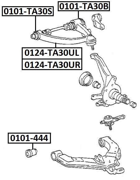 Сайлентблок AKITAKA 0101-TA30B (переднего верхнего рычага задний) TOYOTA