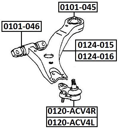 Опора шаровая AKITAKA 0120-ACV4R TOYOTA