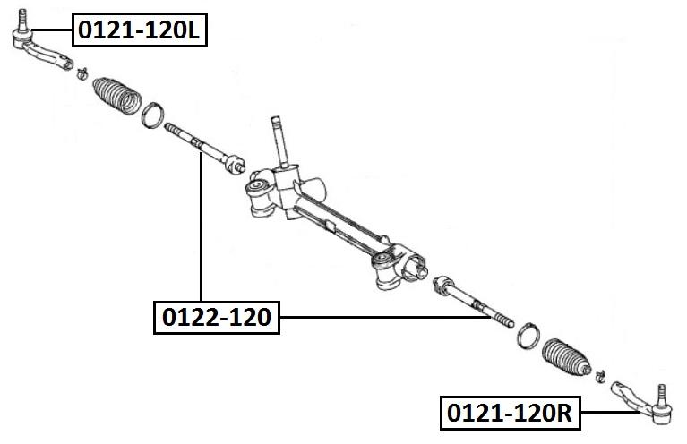 Наконечник рулевой AKITAKA 0121-120L TOYOTA