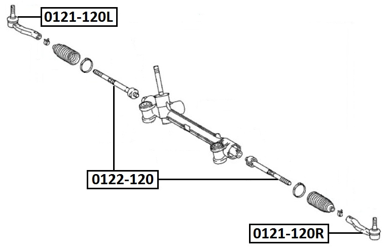 Наконечник рулевой AKITAKA 0121-120R TOYOTA