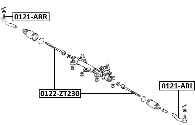 Наконечник рулевой AKITAKA 0121-ARL TOYOTA