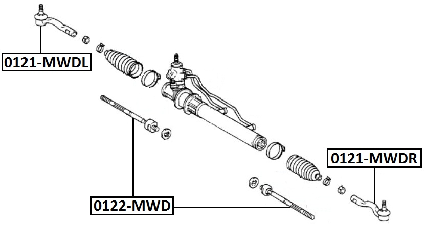 Наконечник рулевой AKITAKA 0121-MWDL TOYOTA