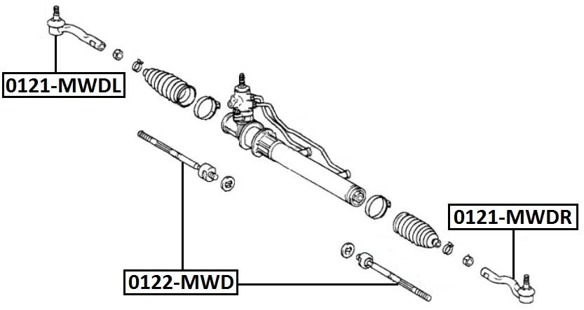 Наконечник рулевой AKITAKA 0121-MWDR TOYOTA