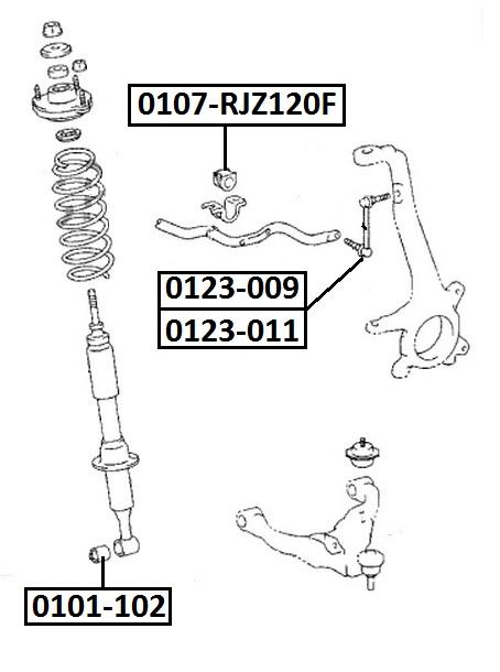 Тяга стабилизатора AKITAKA 0123-009 TOYOTA (передняя R)