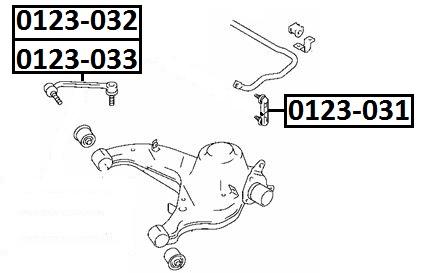Тяга стабилизатора AKITAKA 0123-033 TOYOTA (задняя L)
