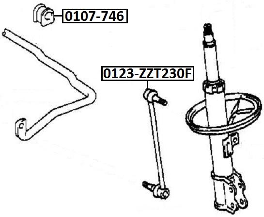 Тяга стабилизатора AKITAKA 0123-ZZT230F TOYOTA (передняя)