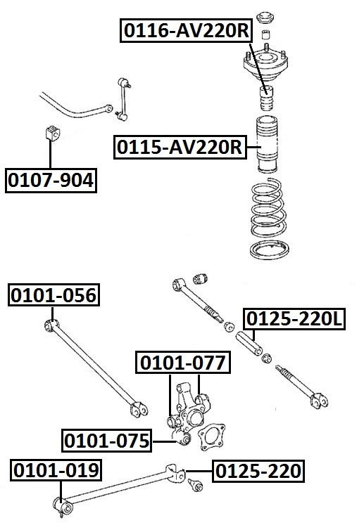 Тяга стабилизатора AKITAKA 0125-220 TOYOTA (задняя продольная)