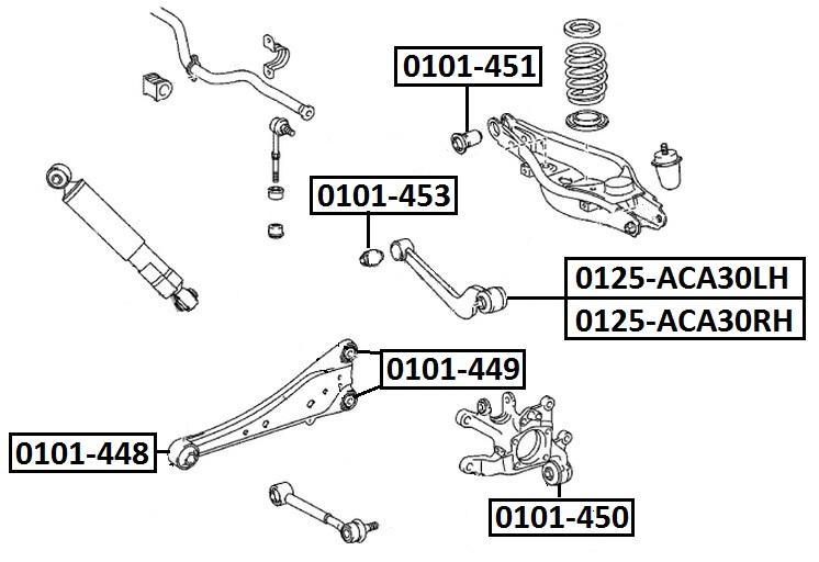 Тяга стабилизатора AKITAKA 0125-ACA30RH TOYOTA (задняя поперечная R)