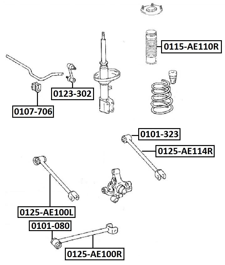 Тяга стабилизатора AKITAKA 0125-AE114R TOYOTA (задней подвески задняя поперечная)