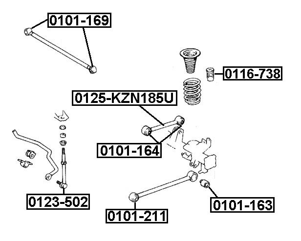 Тяга стабилизатора AKITAKA 0125-KZN185U TOYOTA (задняя продольная)