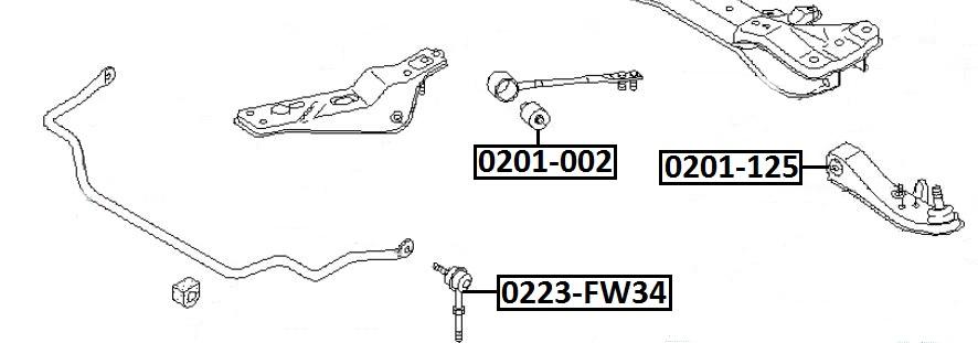Сайлентблок AKITAKA 0201-002 (растяжки передней подвески) NISSAN