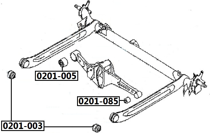 Сайлентблок AKITAKA 0201-005 (заднего рычага) NISSAN