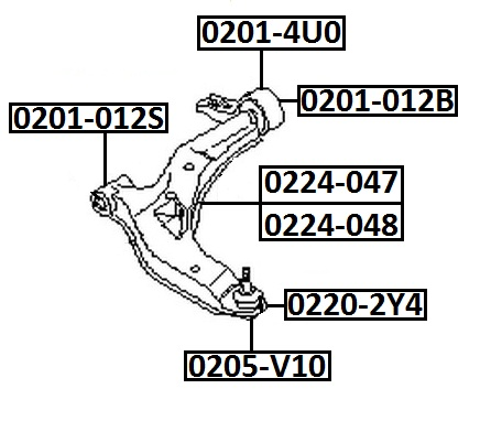 Сайлентблок AKITAKA 0201-012S (переднего рычага передний) NISSAN