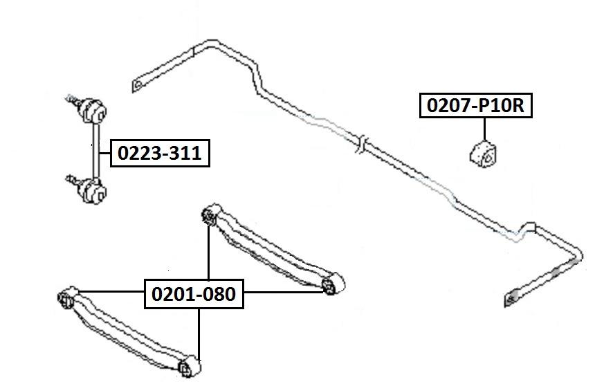 Сайлентблок AKITAKA 0201-080 (задней поперечной тяги)