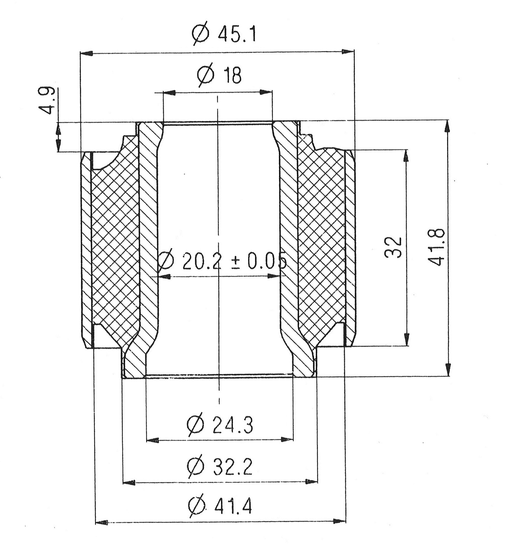 Сайлентблок AKITAKA 0201-086 (задней продольной тяги) NISSAN