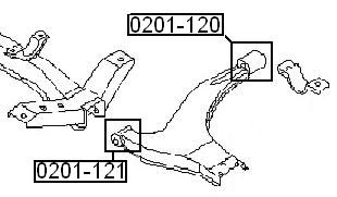 Сайлентблок AKITAKA 0201-120 (переднего рычага задний) NISSAN
