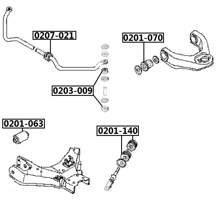 Сайлентблок AKITAKA 0201-140 (переднего нижнего рычага задний) NISSAN
