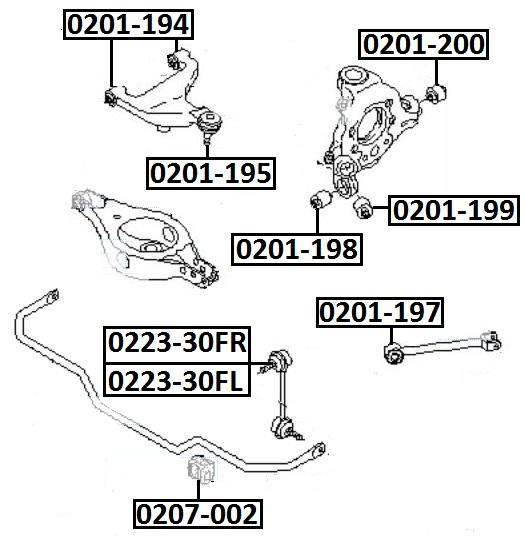 Сайлентблок AKITAKA 0201-194 (заднего рычага) NISSAN