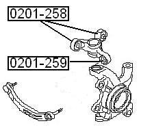 Сайлентблок AKITAKA 0201-258 (поворотного кулака) NISSAN