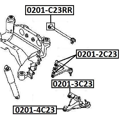 Сайлентблок AKITAKA 0201-2C23 (заднего верхнего рычага) NISSAN