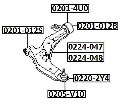 Сайлентблок AKITAKA 0201-4U0 (переднего рычага задний) NISSAN