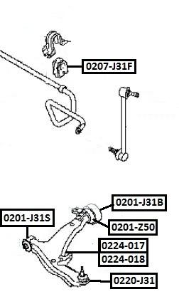 Сайлентблок AKITAKA 0201-J31B (переднего рычага задний) NISSAN