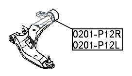 Сайлентблок AKITAKA 0201-P12L (переднего рычага задний левый) NISSAN