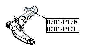 Сайлентблок AKITAKA 0201-P12R (переднего рычага задний правый) NISSAN