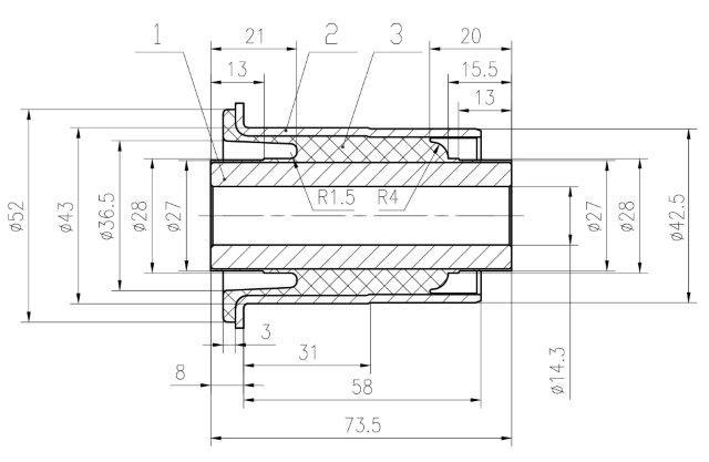 Сайлентблок AKITAKA 0201-R51L (переднего нижнего рычага) NISSAN