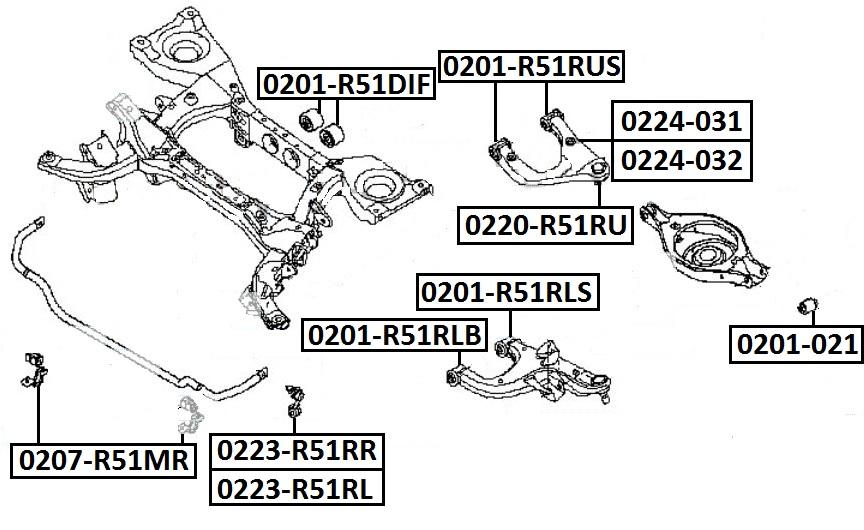 Сайлентблок AKITAKA 0201-R51RLB (заднего нижнего рычага задний) NISSAN