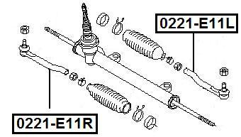Наконечник рулевой AKITAKA 0221-E11R NISSAN