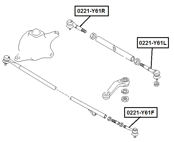 Наконечник рулевой AKITAKA 0221-Y61F NISSAN
