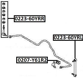 Тяга стабилизатора AKITAKA 0223-60YRR NISSAN (задняя R)