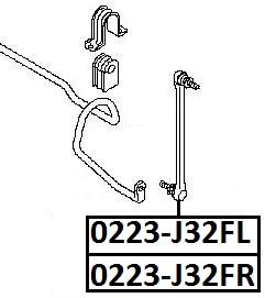 Тяга стабилизатора AKITAKA 0223-J32FL NISSAN (передняя L)