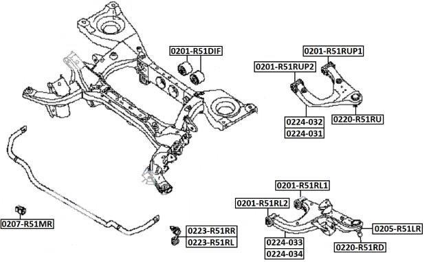 Тяга стабилизатора AKITAKA 0223-R51RR NISSAN (задняя R)