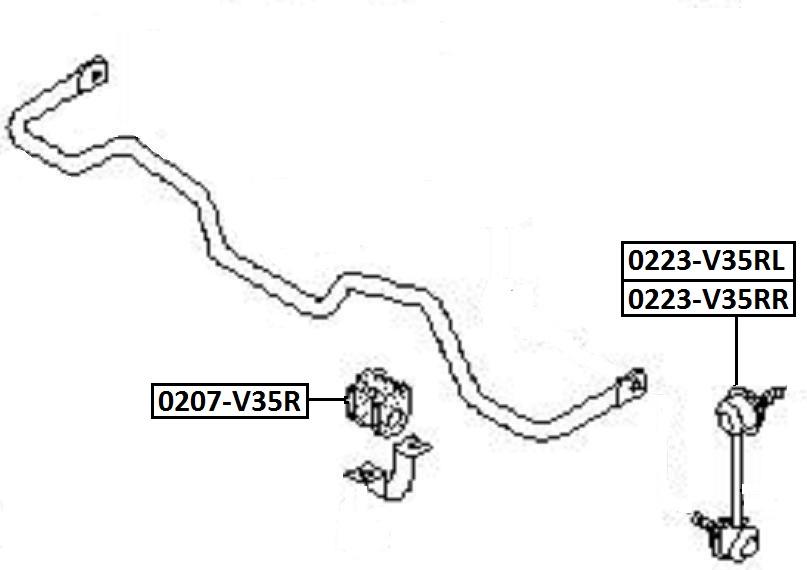 Тяга стабилизатора AKITAKA 0223-V35RL NISSAN (задняя L)