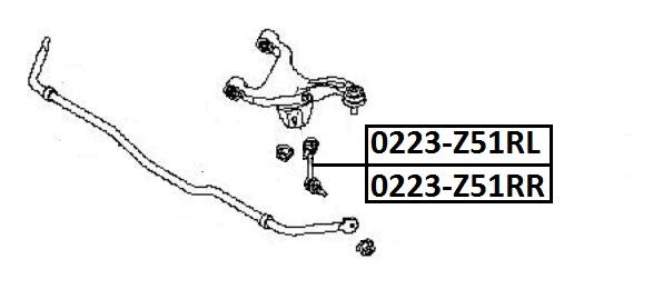 Тяга стабилизатора AKITAKA 0223-Z51RL NISSAN (задняя L)