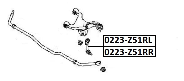 Тяга стабилизатора AKITAKA 0223-Z51RR NISSAN (задняя R)