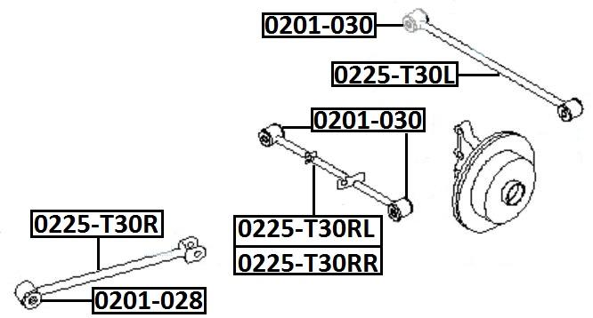 Тяга стабилизатора AKITAKA 0225-T30R NISSAN (задняя продольная)