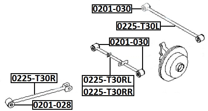 Тяга стабилизатора AKITAKA 0225-T30RR NISSAN (задняя)